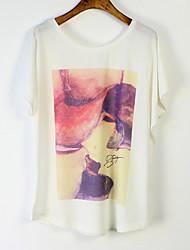 Damen Druck Einfach Lässig/Alltäglich T-shirt Sommer Kurzarm Weiß Mittel