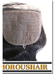 "1Pc/lot 8""-24"" Brazilian Virgin Hair Natural Color Body Wave 4""X4"" Top Silk Base Closure"