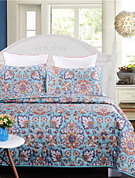 Cotton Blue Floral Coverlet Transfer Printed 1pc of quilt with 2pcs of Pillow cases