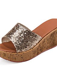 Women's Shoes Glitter Wedge Heel Sandals Casual Silver/Gold