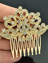 Alloy Gold Rhinestone Women Wedding Prom Girl Flower  Hair Comb