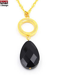 316L Stainless Steel IP Gold Black Crystal Pendant with Steel Chain Necklace for Women