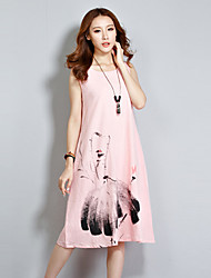 Women's Casual/Daily Dress,Print Round Neck Knee-length Sleeveless Pink / White Cotton / Linen Summer