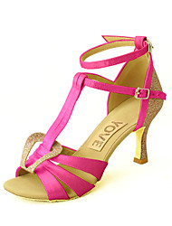 Customizable Women's Dance Shoes Satin Satin Latin / Salsa Sandals Customized Heel IndoorBlack / Blue / Yellow / Pink / Purple / Red /