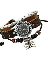 Women's Vintage Watch Bracelet Beaded Braided Bracelet Butterfly Pendant Bracelet (12Pices/Set)