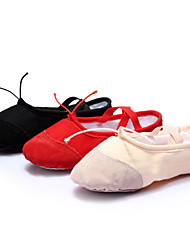 Non Customizable Women's Dance Shoes Ballet Leather/Canvas Flat Heel Black/Red/Other