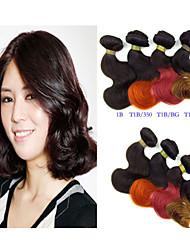 """1 porción de las PC 8 """"pelo virginal ombre extensiones brasileñas del pelo humano brasileño haces de pelo onda del cuerpo"""