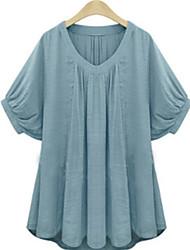 Women's Sexy Casual Cute Plus Sizes Inelastic Short Sleeve Regular T-shirt (Cotton/Linen)