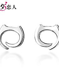 July 7th Lover 925 Sterling Silver Stud Earrings Korean Female Cute Cat Silver Earrings