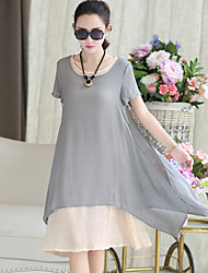 Women's Vintage Solid Loose / Asymmetrical Dress , Round Neck Knee-length Cotton / Linen