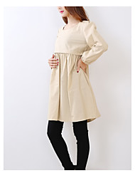Women's Cute Inelastic Long Sleeve Maternity Dress (Cotton)