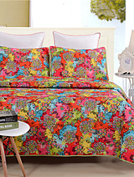 Floral Coverlet Quilted Bedding 100% Polyester 1pc of quilt with 2pcs of Pillow cases
