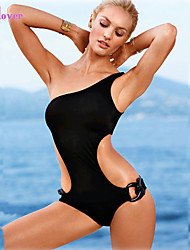 Women's Halter One-pieces , Solid/Bandage Push-up/Wireless/Padded Bras Polyester/Spandex Red/Black