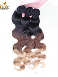 """3st / lot 14 """"-26"""" ombre hår malaysian jungfru mänskliga hårförlängningar / väva färg 1b427 vågigt människohår buntar"""