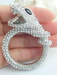 Women Accessories Silver-tone Clear Rhinestone Crystal Snake Brooch Art Deco Scarf Brooch Pin Women Jewelry
