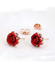 T&C Women's Red Flower Stud Earrings Rose Lover 18K Rose Gold Plated Earrings Crystal Jewelry