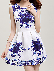 Women's Round Neck Sleeveless Floral Print Mini Dress