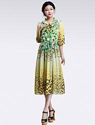 yalun® vestido de leopardo de impresión de manga larga de las mujeres