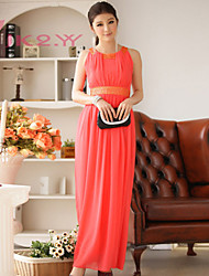 Women's Fashion Dress Floor-length Round Collar Long Chiffon Bridesmaid Dress/  Party Dress