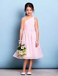 Lanting Bride Knee-length Chiffon Junior Bridesmaid Dress A-line One Shoulder with Draping / Side Draping / Ruching
