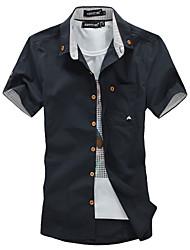 moda homens novos camisas casuais de algodão quente para os homens verão de manga curta cogumelo bordado homens sólido camisa ásia s / m /