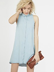 Women's Casual Shirt Collar Sleeveless Dresses (Others)