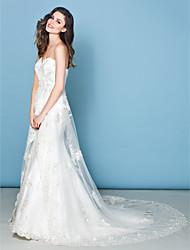 lan ting a-line abito da sposa - cappella dell'avorio treno innamorato pizzo