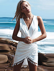 Women's V Neck Tassel Mini Dress , Polyester White Casual