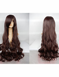 Hot Sale 40 Inches High Temperature Fiber Long Curly Dark Brown Cosplay Costume Wig Side Bang