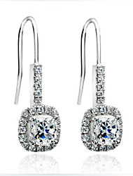 Sterling Silver Cushion Halo Dangle Earrings 1CT/Piece SONA Simulate Diamond Earrings Engagement Women Platinum Plated