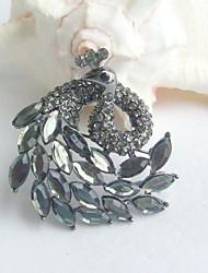 Women Accessories Gray Rhinestone Crystal Peacock Brooch Art Deco Scarf Brooch Pin Women Jewelry