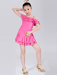 Latin Dance Performance Outfits Children's Training Polyester Pleated Outfit Black/Blue/Fuchsia/Red/Yellow Kids Dance Costumes