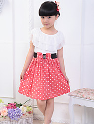 Girl's Summer Micro-elastic Medium Short Sleeve Dresses (Cotton/Lace)