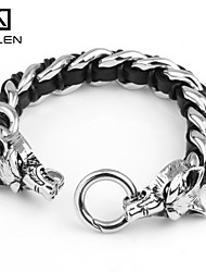 Kalen Men's Jewelry Stainless Steel Animal Jewelry Leather Surfer Bracelets