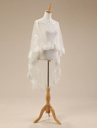 Flat Shoulders Lace Cape with Lace Applique Off Shoulder Ivory