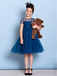 Lanting Bride® Knee-length Tulle Junior Bridesmaid Dress A-line Jewel with Criss Cross / Ruching
