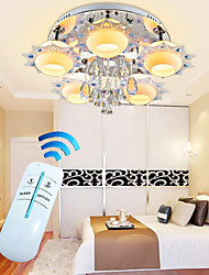 Crystal LED Flush Mount,Colorful 5 Lights , Modern Fashion Creative Stainless Steel Glass with Remote Control