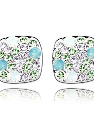 Fashion Bag Drop Earring Plated with 18K True Platinum Aquamarine Crystallized Austrian Crystal Stones