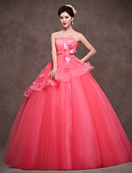 Formal Evening Dress - Watermelon Ball Gown Strapless Floor-length Satin/Tulle/Polyester