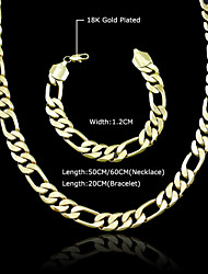 18K Real Gold Plated Figaro Necklace+Beacelet Jewelry Set