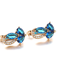 Sjeweler Female Fashion Gold-Plated Blue Zircon Round Earrings