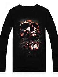 T-Shirts ( Coton/Modal ) Informel/Imprimé/Soirée Rond à Manches longues pour Homme