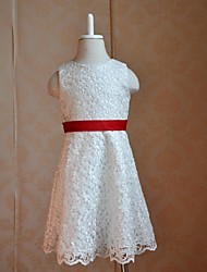 Flower Girl Dress Floor-length Cotton/Lace/Silk A-line Sleeveless Dress