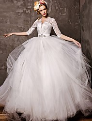 Ball Gown Court Train Wedding Dress -V-neck Tulle