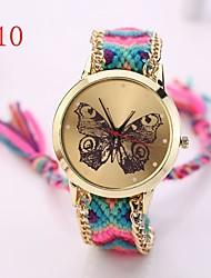 Frauen kleiden Uhren goldene Uhr der neuen Ankunft Designer Genf handgewebte Schmetterling Armbanduhr Handarbeit geflochten Armband