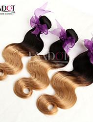 3pcs 14-28 'ombre Peruaanse body wave maagd hair extensions twee toon 1b / 27 blonde 6a remy menselijke haar weave golvende bundels
