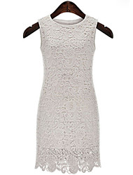 Women's Sexy Bodycon Casual Lace Cute Party Plus Sizes Micro Elastic Sleeveless Knee-length Dress (Lace)