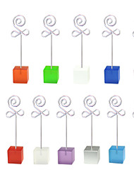 Lot 10pcs Color Cube Stand Flower Bud Wire Place Card Holder Photo Memo Clip
