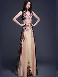 Formeller Abend Kleid Chiffon - A-Linie - bodenlang - V-Ausschnitt