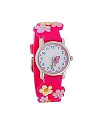 Children's Cartoon 3D Pattern Digital Display Rose Silicone Band Quartz Imported machine Analog Wrist Watch